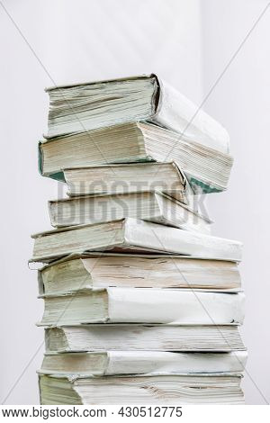 Stack Of Stacked Blank Books On White Background