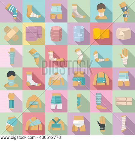 Bandage Icons Set Flat Vector. First Aid. Medical Trauma
