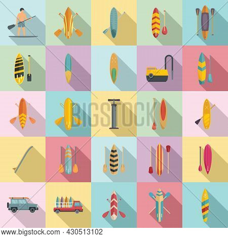 Sup Surfing Icons Set Flat Vector. Surf Board. Puddle Gear