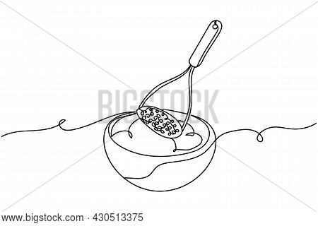Continuous One Line Of Making Mashed Potatoes Masher And Bowl Of Potatoes In Silhouette. Linear Styl