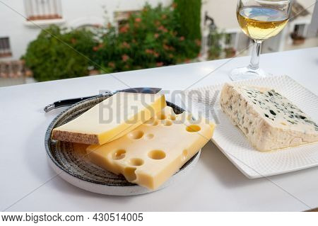 Cheese Collection, Hard French Cheese Comte Made From Cow Milk With Rind In Franche-comte Regio, Blu