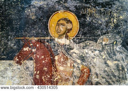 Athens - May 9, 2018: Ancient Greek Fresco Inside Old Church In Agora, Athens, Greece. Remains Of By
