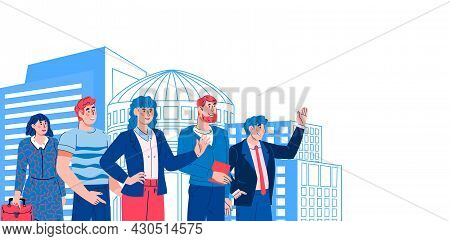 Banner With A Team Of Business People On Background Of Modern City. Successful Business Building And