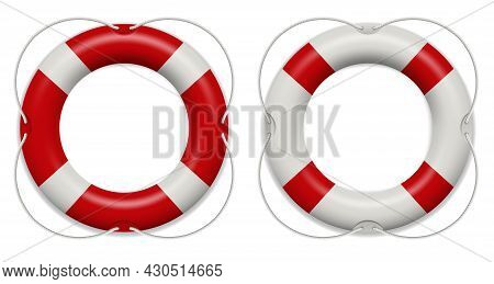 Realistic Rescue Life Belt, Marine Lifebuoy Water Safety Isolated On White Background. Collection Of