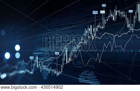 Forex Financial Rising Graph And Chart With Numbers, Candlesticks, Lines That Illustrate Investment