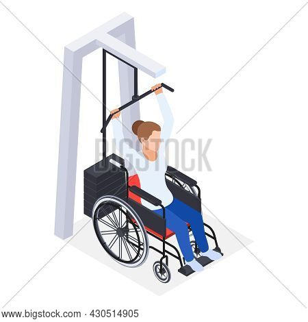 Physiotherapy Rehabilitation Isometric Composition With Woman In Wheelchair Lifting Weight Vector Il