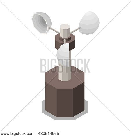 Meteorology Weather Forecast Isometric Composition With Isolated Image Of Weather Vane Vector Illust