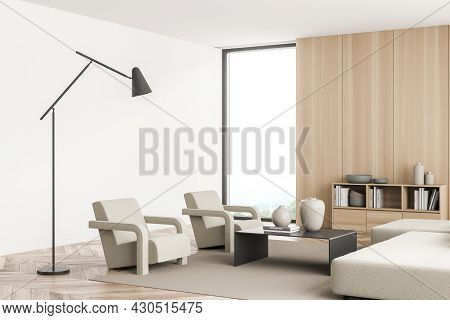 Corner Of The Panoramic Living Room Interior With Wooden And White Walls, Sofa, Two Armchairs, Coffe