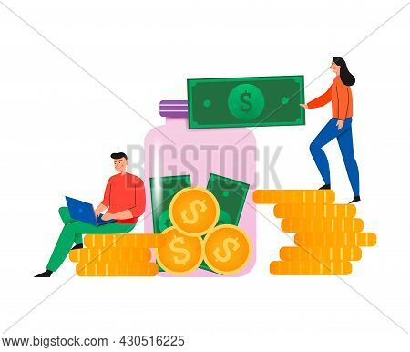 Crowdfunding Composition With Flat Icons Of Coin Stacks And Glass Can With People And Banknotes Vect