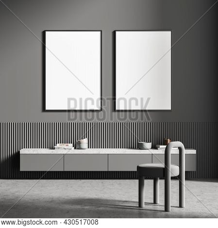 Two Posters On The Dark Grey Wall Of The Living Room Area With Stool, Hanging Sideboard, Basement Le