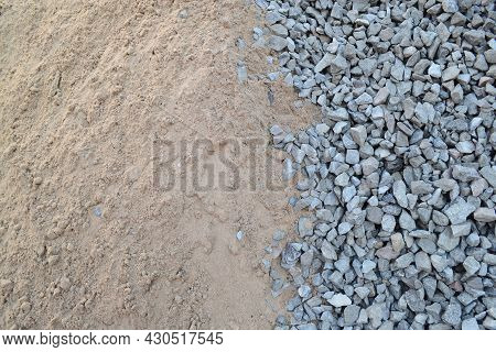 A Pile Of Sand And Gravel On A Construction Site.concept - Building Materials, Repair, Construction,
