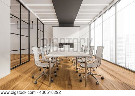 Panoramic Conference Room Interior With Table, Rolling Chairs, Led Lights, Flip Chart, Glass Wall Pa
