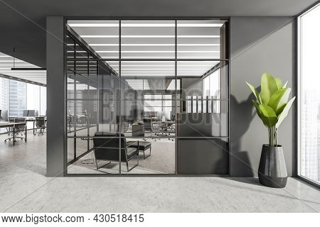Grey Panoramic Workspace Interior With Linear Lighting, Concrete Flooring And Framed Glass Office Pa