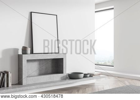 Corner View On The Mockup Poster, Standing On The Grey Mantelpiece In The White Living Room Interior