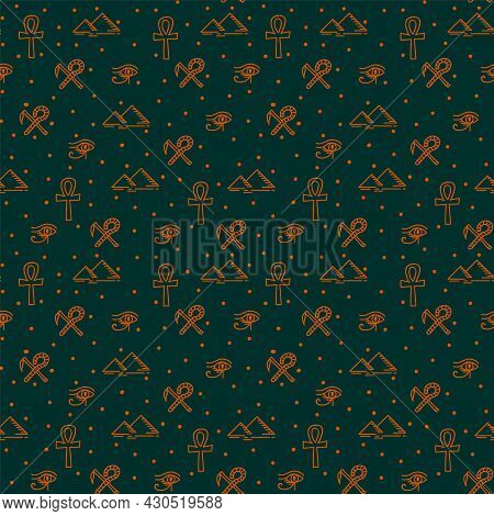Egyptian Pattern With Gold Elements. Ancient Egypt, Symbols Of The Power Of The Pharaohs And Gods. V