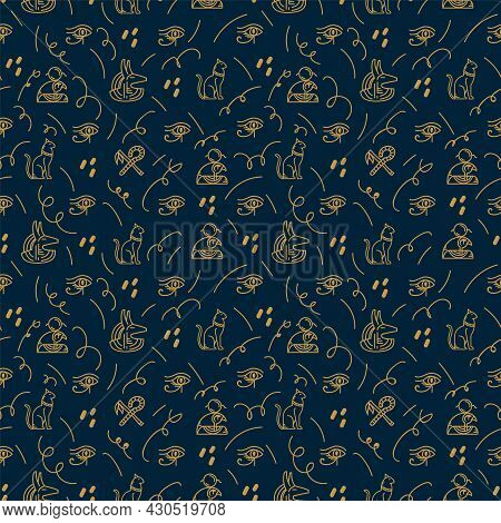 Background With Egyptian Elements And Symbols Of Ancient Gods. Historical Egypt With Ancient Artifac