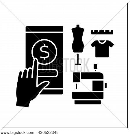 Seamstress Service Glyph Icon. Donation For Sewing Clothes. Virtual Tips Concept.filled Flat Sign. I