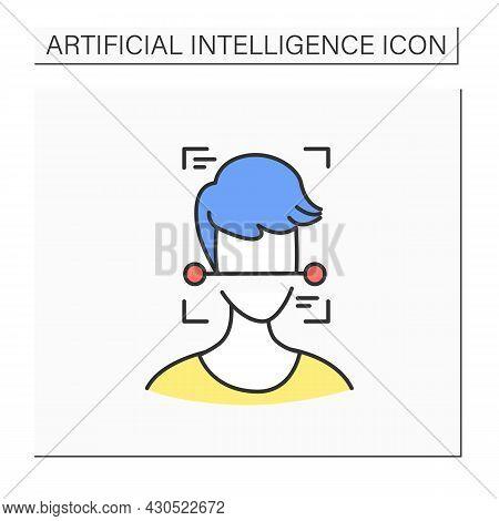 Ai Surveillance Color Icon. Human Face Scanning. Ai Video Surveillance Face Recognition Technology C