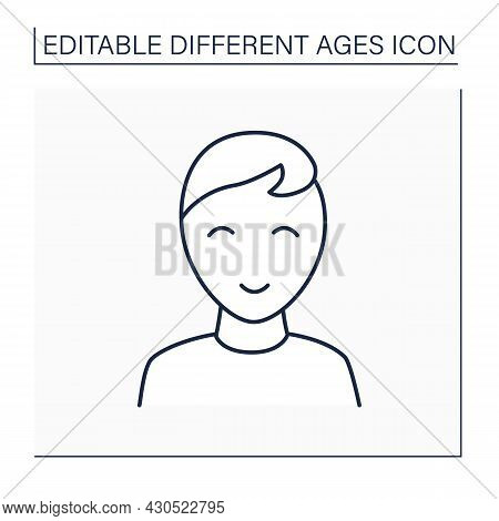 Early Childhood Line Icon. Preschool Period. Young Boy. Different Ages Concept. Isolated Vector Illu