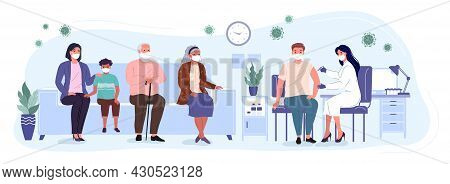 Patients And Woman Doctor In A Medical Clinic. People Of Differernt Ages Are Waiting In Line To Rece