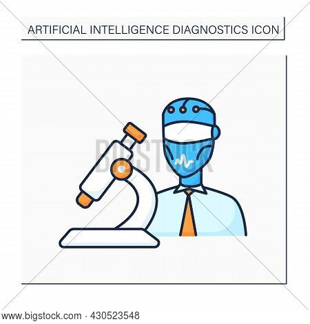 Ai In Medicine Color Icon. Digital Technologies In Medical Sphere. Modern Microscope And Robot. Ai D