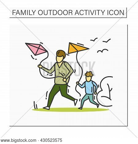 Family Flying Kite Color Icon. Father And Son Launching Kite Outdoors. Family Activities And Parents