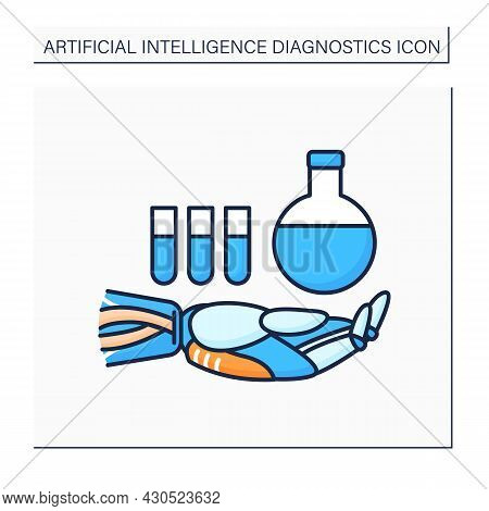 Ai In Chemistry Color Icon. Modern Technologies. Robot And Keeps Flask And Test Tubes. Ai Diagnostic