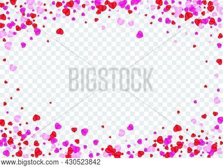 Tender Confetti Background Transparent Vector. Random Frame Heart. Red Cut Texture. Fond Confetti El
