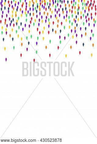 Colorful Confetti Vector White Background. Bright Leaf Scattered Backdrop. Natural Foliage Pattern.