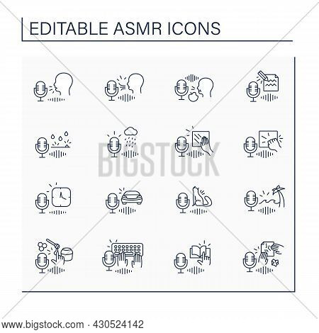 Asmr Line Icons Set. Recording Of Different Sounds. Modern Trends. Internet Trend Concept. Isolated