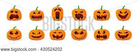 Halloween Monster Jack Lantern Orange Pumpkin Carved Glowing Scary Face Set On White Background. Hol