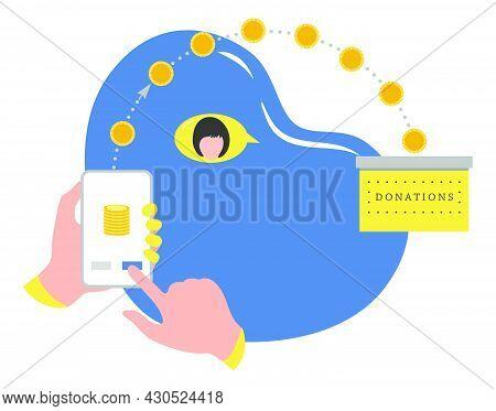 Vector Illustration Hands Hold Cell Phone Online Donation Transfer Mobile Money Transfer Financial O