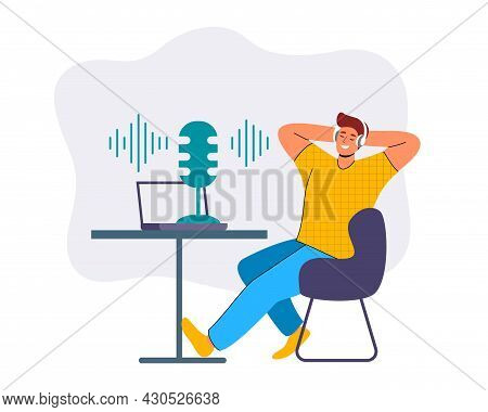 Podcast Concept Vector Illustration Young Male Listening To Podcasting Sitting At Table With Headpho