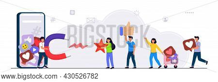 Blogger Collects Likes Vector Illustration Flat Style With Characters Influencer Marketing Blogger P