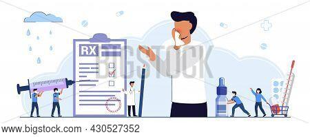 Rx Medical Prescription Drug Vector Illustration Concept Medicine Prescription With Medicines Season
