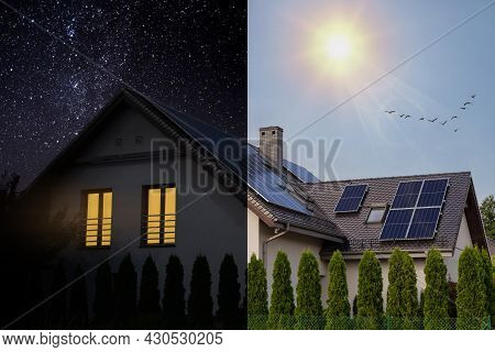 Solar Panels On A Gable Roof. Beautiful Modern House And Solar Energy. Principle Of Operation, Visua