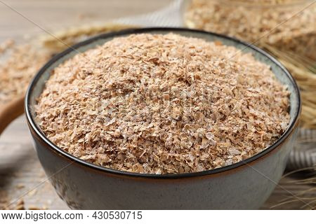 Dry Wheat Bran In Bowl, Closeup View