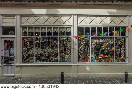Gent, Flanders, Belgium - July 30, 2021: Facade Of The Fallen Angels Antique Store In Jan Breydelstr