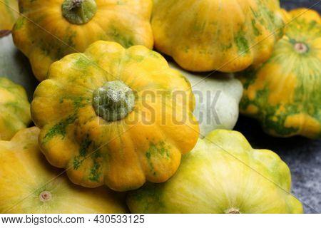 Fresh Ripe Pattypan Squashes On Table, Closeup