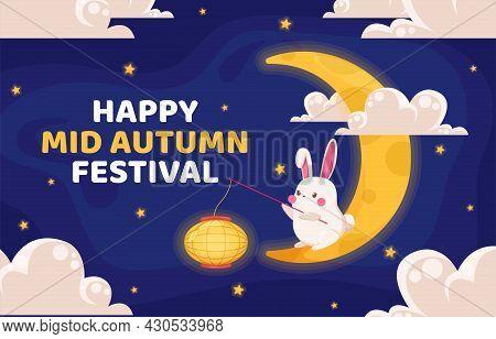 Mid-autumn Festival Vector Design. Chinese Translate: Mid Autumn Festival, Rabbit, Moon, Cloud, Lant