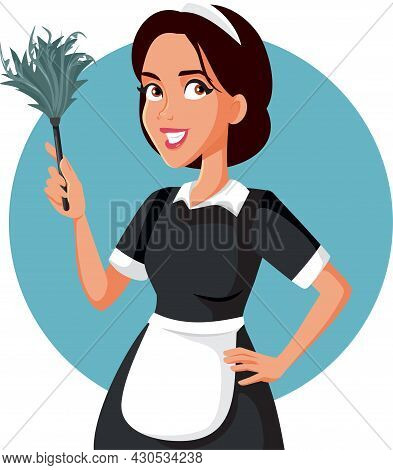 Hotel Maid With Feather Duster Vector Cartoon Illustration