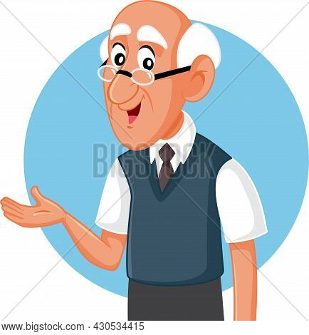 Senior Man Presenting Hand Gesture Vector Cartoon