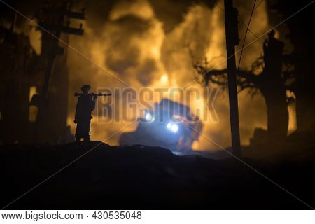 Military Soldier Silhouette With Bazooka. War Concept. Military Silhouettes Fighting Scene On War Fo