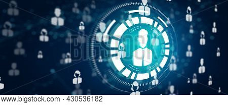 Networking People And Connecting People With Human Resource Marketing In Abstract Blue Background. N