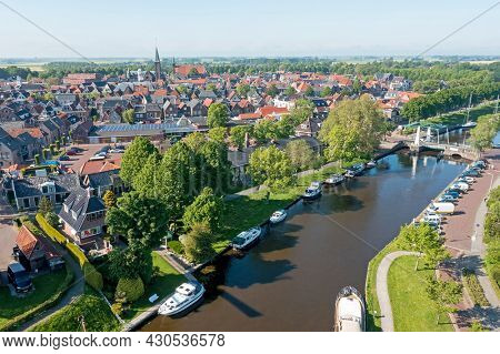 Aerial view on the city Dokkum in the Netherlands