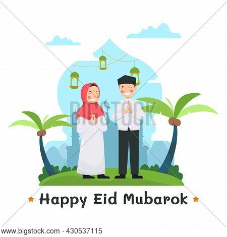 Eid Mubarak Greeting Card With Couple Muslim Characters And Mosque As Background Vector Illustration