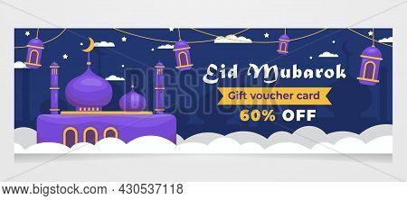 Gift Card Voucher Eid Mubarak, Ramadan Mubarak Sale Web Banner Or Header Design,