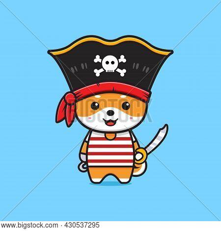 Cute Shiba Inu Pirates Cartoon Icon Illustration. Design Isolated Flat Cartoon Style
