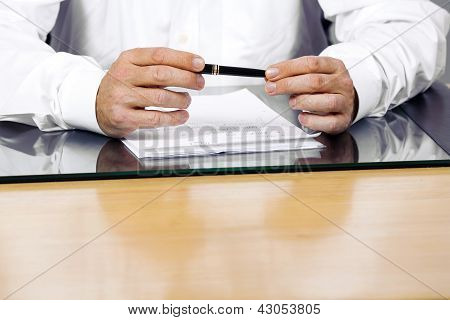 Business Man In Office Is Explaining