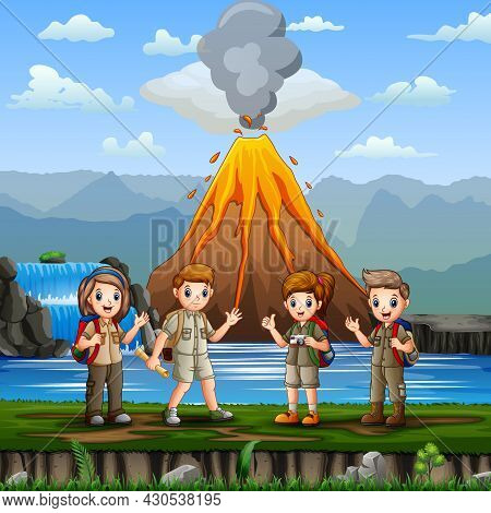 Nature Scene With Group Of Scouts And Volcano Erupt Illustration